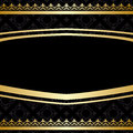 Black ornamental vector background with golden decorations