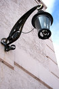 Black Ornate Metal Wall Lamp Post Stock Images
