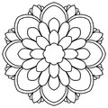 Black outline flower mandala. Doodle round decorative element for coloring book isolated on white background.