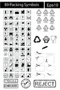 89 black Packing Symbols Royalty Free Stock Photo