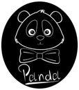 Black panda icon, teddy bear. Royalty Free Stock Photo