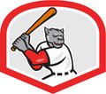 Black panther baseball player batting cartoon illustration of a batter hitter viewed from side set inside diamond shape done in Stock Photo