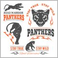 Black panther head. Mockup template animal symbol, logo, emblem or sticker for branding, printing, sports team.