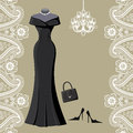 Black party dress with chandelier and paisley border