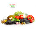Black pasta with vegetables Stock Photography