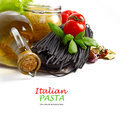 Black pasta with vegetables Royalty Free Stock Images