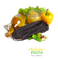 Black pasta with vegetables Royalty Free Stock Photography