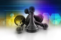 Black pawn isolated in color background Stock Photography
