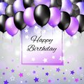 Black and pearl purple colorful balloons. Birthday party decoration. Happy birthday greeting card design with a light background