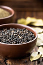 Black pepper in a bowl Royalty Free Stock Image