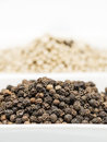Black pepper seeds on a white bowl Royalty Free Stock Images