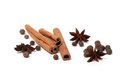 Black peppercorns, anise stars and cinnamon sticks Royalty Free Stock Image