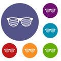 Black pinhole glasses icons set