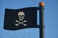 Black plastic pirates flag Royalty Free Stock Photo