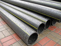 Black plastic tube heap, industry details, Royalty Free Stock Images