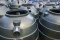 Black plastic water storage tanks outdoor Stock Images