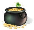 A black pot with coins illustration of on white background Stock Photography