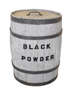 Black powder keg isolated old wooden with lid labeled for on white Stock Images