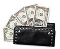 Black purse and dollars on white isolated background Stock Image