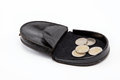 Black purse with metal coins on white. Stock Image