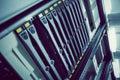 Black rack mounted server tower in large data center Royalty Free Stock Image