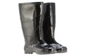 Black rain boots rubber boots a pair of made of elastic pvc plastic Royalty Free Stock Image