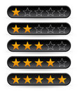 Black rating stars Stock Photos