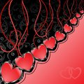 Black and red background with hearts Royalty Free Stock Images