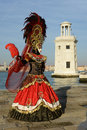 Black red feather masked woman venice carnival Royalty Free Stock Photography
