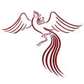 Black and red graceful firebird contour isolated over white hand drawing vector illustration Royalty Free Stock Images