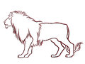 Black and red graceful lion contour isolated over white hand drawing vector illustration Royalty Free Stock Photos