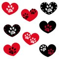 Black Red Heart With Paw Print...