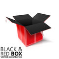 Black and red open box 3D/ illustration