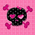 Black and red skull cute aggressive girlish on pink background Royalty Free Stock Image