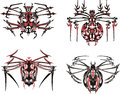 Black and red symmetric spider tattoos Stock Photo