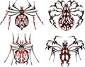Black and red symmetric spider tattoos Royalty Free Stock Photos