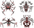 Black and red symmetric spider tattoos Stock Image