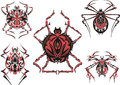Black and red symmetric spider tattoos Stock Photos