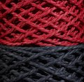 Black and red twine detail of two stacked string coils Royalty Free Stock Photos