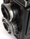 Black retro camera close up Royalty Free Stock Photos