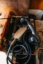 Black retro handset old phone closeup. Military communication Royalty Free Stock Photo