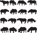 Black rhinoceros silhouette contour