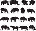 Black rhinoceros and white rhinoceros silhouette contour