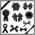 Black ribbon bows Royalty Free Stock Photo