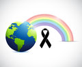 black ribbon rainbow flag and planet. Royalty Free Stock Photo