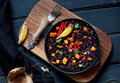 Black rice paella Royalty Free Stock Photo
