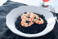 Black rice with prawns fresh Royalty Free Stock Photo