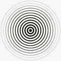 Black Rings sound wave and line in a circle. Tap symbol. Radio signal background. Vector template illustration abstract speed