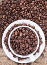 Black roasted coffee beans Stock Photo