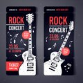 Vector illustration black rock concert ticket design template with black guitar and cool grunge effects in the background Royalty Free Stock Photo
